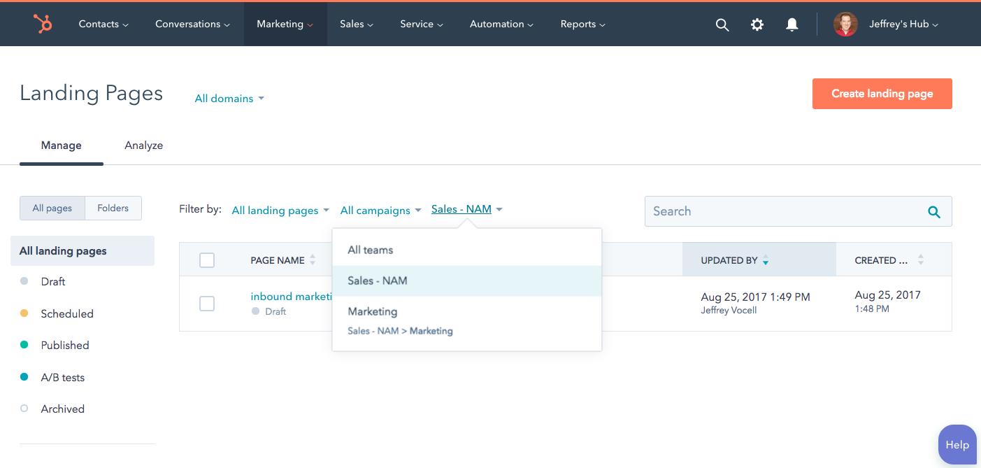 Hubspot_Page_Filtering