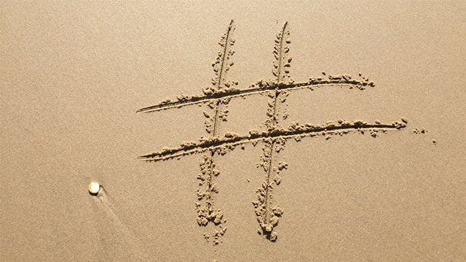 A Hashtag Drawn In The Sand