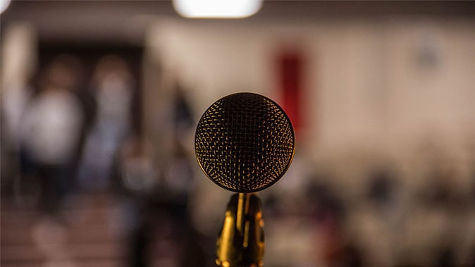 A Microphone With A Blurred Background