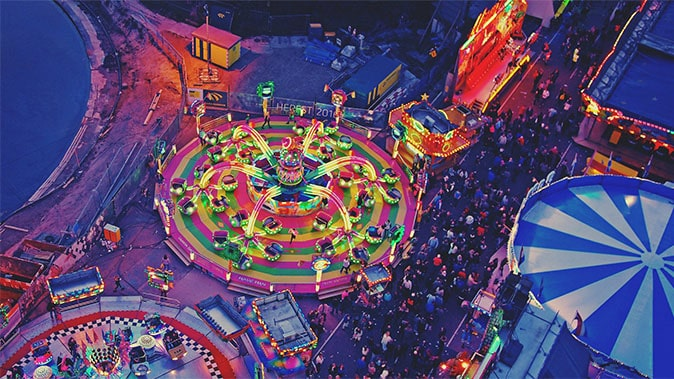 An Aerial View Of A Colourful Funfair