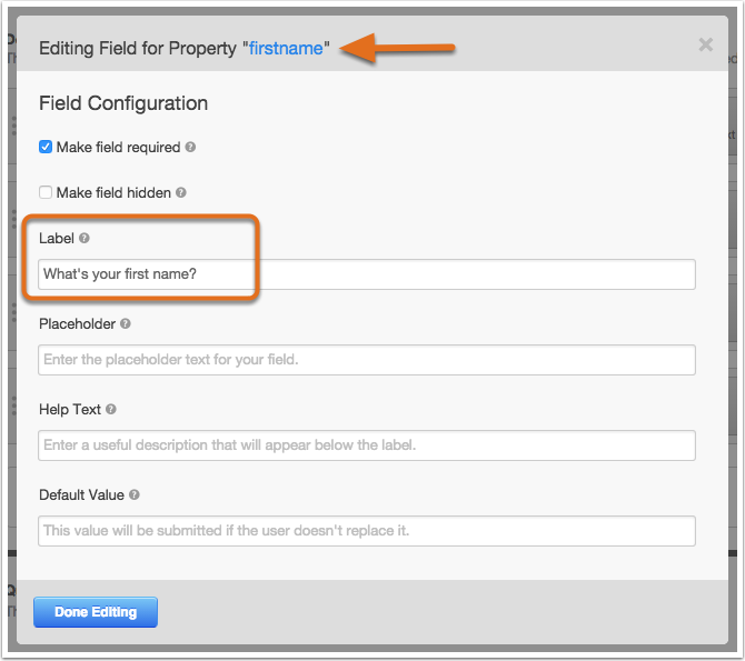 Use HubSpot to edit field labels using the Field Options Editor within a form
