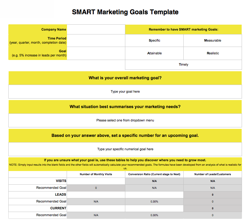 Screenshot of Luminate Digitals free SMART Marketing Goal template for accountants