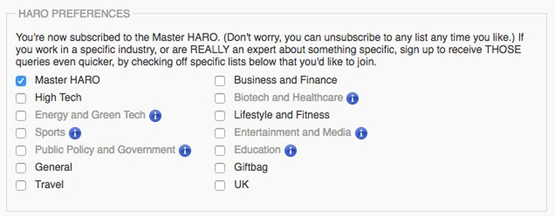 You can select the types of emails you receive